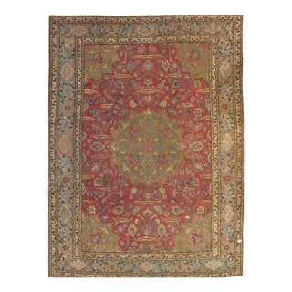 "Pasargad Antique Persian Tabriz Lamb's Wool Rug - 8'4"" X 11'9"" For Sale"