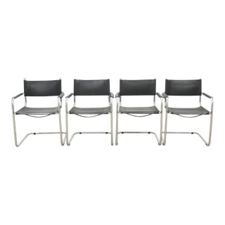 Midcentury Modern Leather Dining Chairs - Set of 4