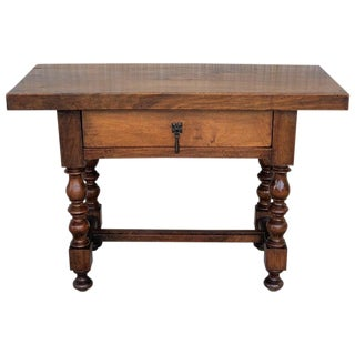 Spanish 1890s Walnut Side Table Single Drawer Wit Turned Legs For Sale