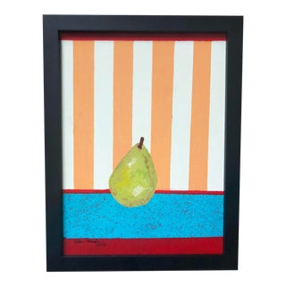 Framed Red and Orange Striped Fruit Painting For Sale