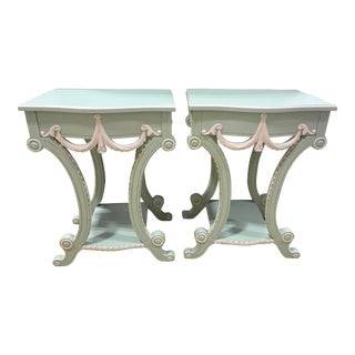 Vintage Ornate Painted Side/End Tables - a Pair For Sale