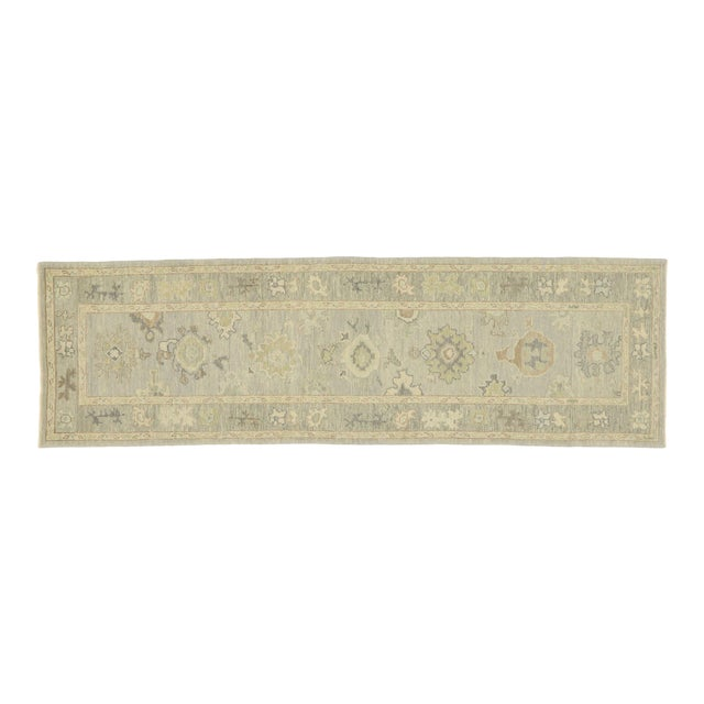 Contemporary Turkish Oushak Runner With Transitional Style - 03'00 X 09'11 For Sale