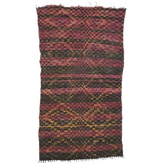 """Vintage Berber Moroccan Rug With Checkerboard Design - 06' X 10'11"""" For Sale"""