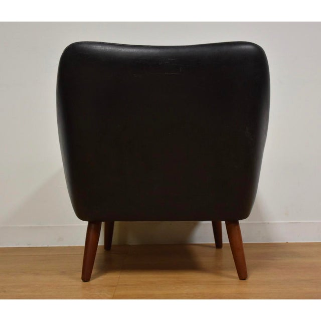 Animal Skin Danish Black Leather & Teak Lounge Chair For Sale - Image 7 of 10