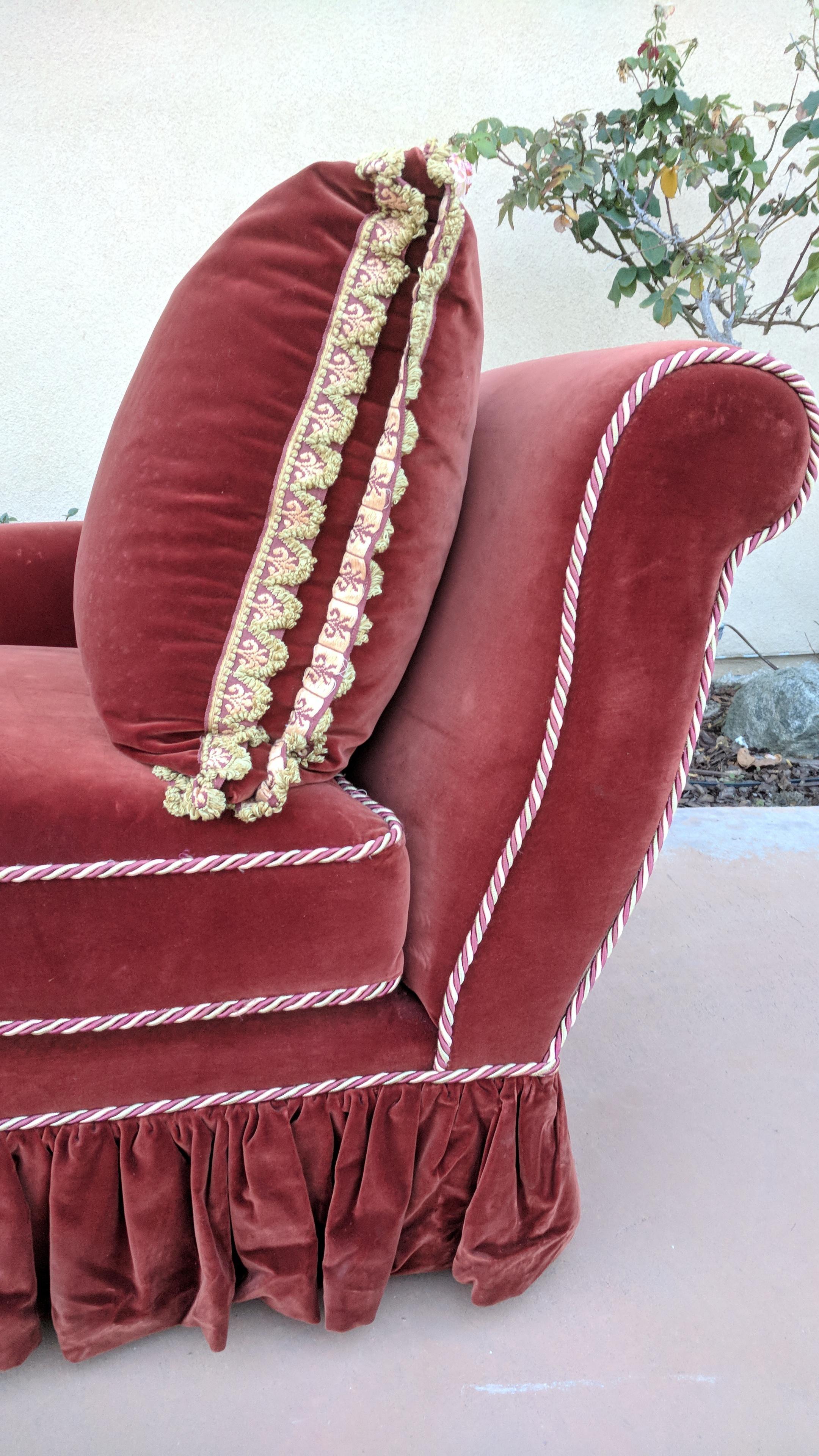 Vintage Burgundy Red Velvet Chaise