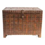 Image of Antique Wood & Iron Indian Trunk For Sale