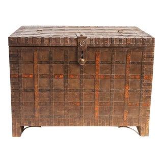 Antique Wood & Iron Indian Trunk For Sale