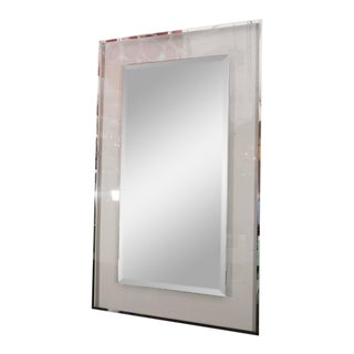 Lucite and Mirrored Stainless Steel Trimmed Mirror For Sale