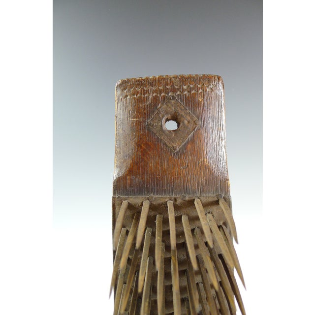Antique 19th Century Wood and Iron Flax Comb Tool - Image 6 of 7