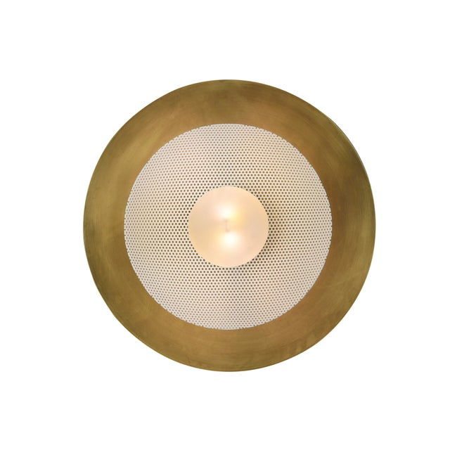 Mid-Century Modern Centric Wall Sconce in Solid Brass and Cream Enamel Mesh Blueprint Lighting 2019 For Sale - Image 3 of 5