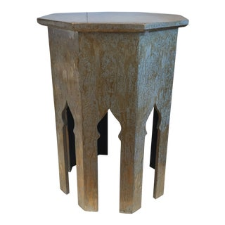 Moroccan Jamie Young Tangier Table - Octagon Silver Splash Side Table For Sale