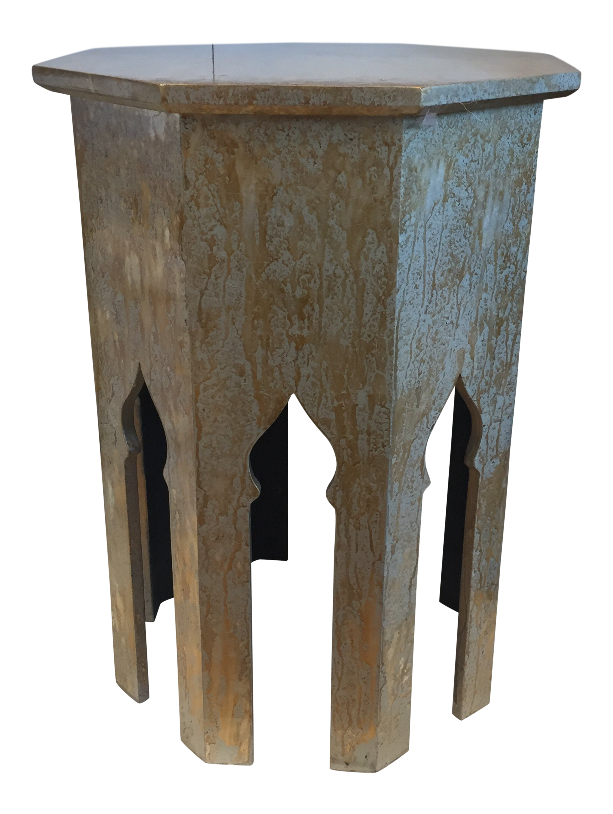Moroccan Jamie Young Tangier Table   Octagon Silver Splash Side Table