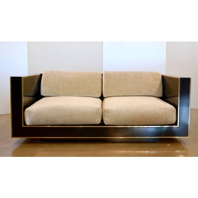 Mid-Century Modern Black and Brass Loveseat, Italy, 1970s, Romeo Rega For Sale - Image 3 of 10