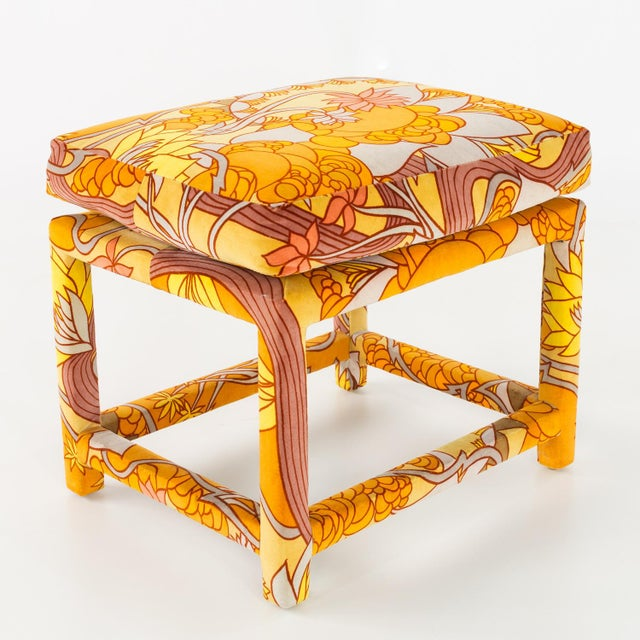 Textile Milo Baughman for Thayer Coggin Mid Century Parsons Ottoman Stool With Jack Lenor Larsen Fabric For Sale - Image 7 of 7