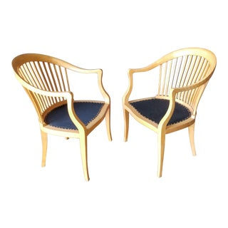 Modern Spindle Back Jack Lenor Larson Chairs - a Pair For Sale