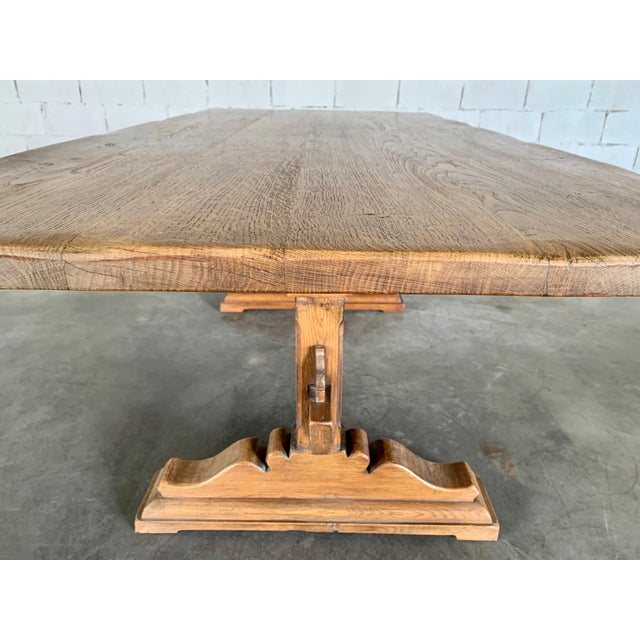 Late 19th Century Antique French Farmhouse Solid Oak Wood Trestle Dining Table 19th C. For Sale - Image 5 of 13