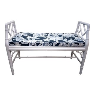 1960s Vintage Faux Bamboo Chinese Chippendale Style Bench For Sale
