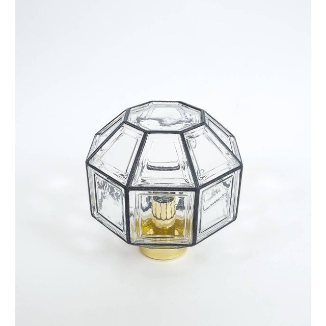 1960s Set of Three Clear Glass Lantern Flush Mounts Lamps by Limburg For Sale - Image 5 of 8