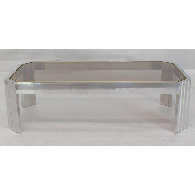 Aluminum Aluminum Brass Glass Rectangular Coffee Table For Sale - Image 7 of 7