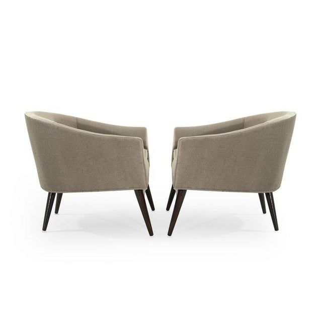 Gray Pair of Italian Barrel Back Lounge Chairs in Champagne Mohair, 1950s For Sale - Image 8 of 13