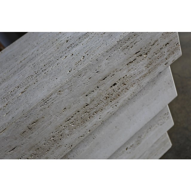 Stone Sculptural Modernist Travertine Pedestal For Sale - Image 7 of 8