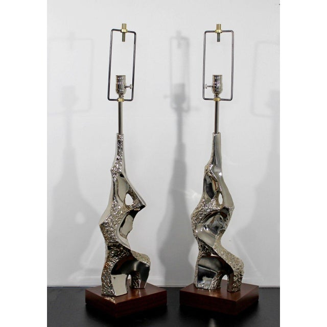 Mid-Century Modern 1970s Mid Century Modern Brutalist Nickel Table Lamps Richard Barr for Laurel - a Pair For Sale - Image 3 of 9