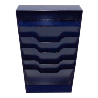 20th Century Industrial Midnight Navy Blue Vertical Metal Magazine Rack For Sale
