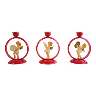 Vintage Holiday Angel Candle Holders - Set of 3