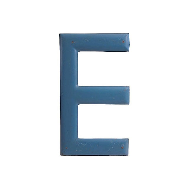 """Americana Large Blue Letter """"E"""" For Sale - Image 3 of 3"""