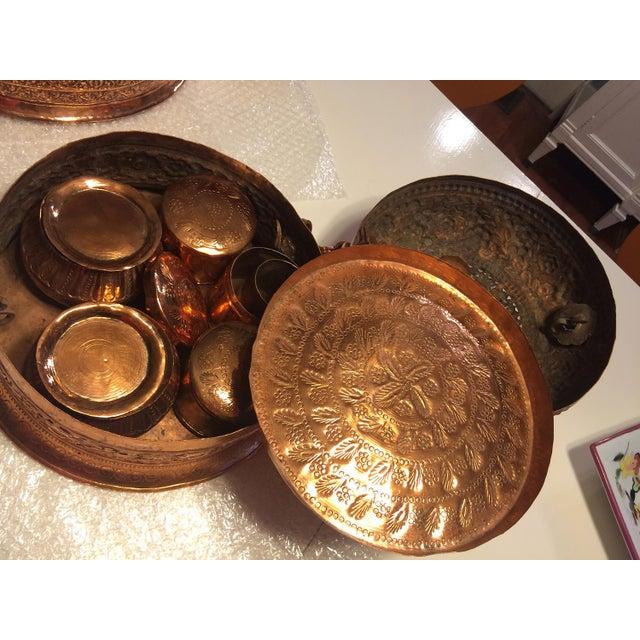 Antique Copper Repousse Paan Dan Box For Sale - Image 4 of 7
