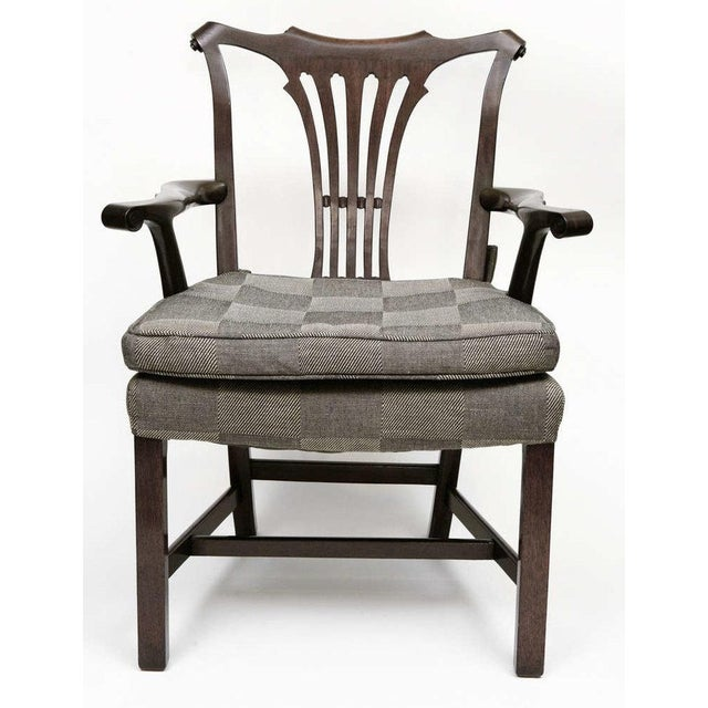 A very good pair of arm chairs in the Georgian style. Considered to be American, circa the 1950's. All elements of the...
