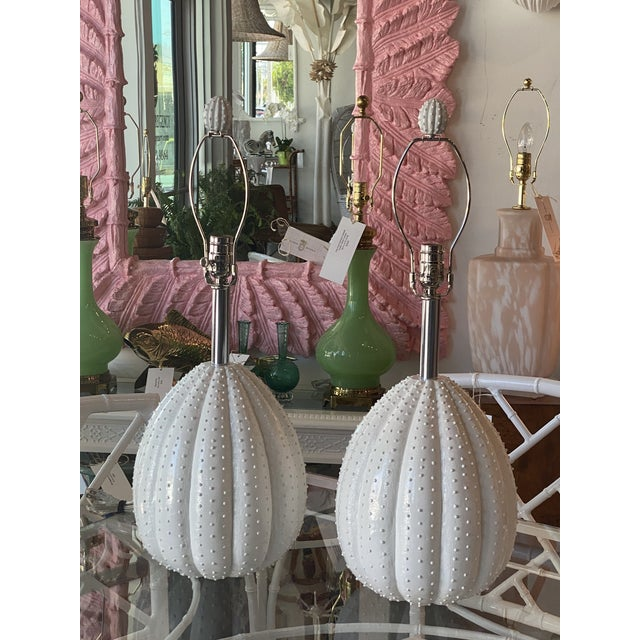 Vintage White Sea Urchin Style Palm Beach Table Lamps Newly Restored -A Pair For Sale - Image 12 of 12