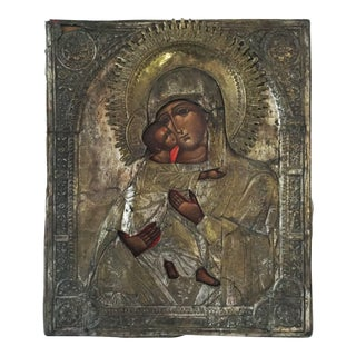 """LG Old Russian Icon Madonna and Child 17"""" H"""