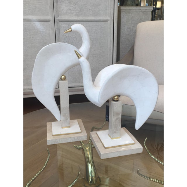 Maitland-Smith Tessellated Stone/Brass Swans - A Pair For Sale - Image 9 of 9