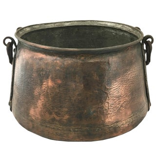 Hand-Hammered Antique Copper Cauldron | Turkish Trabazon Copper Boiler For Sale