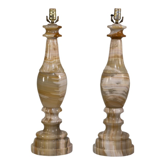 1960s Large Scale Neoclassical Onyx Table Lamps - a Pair For Sale
