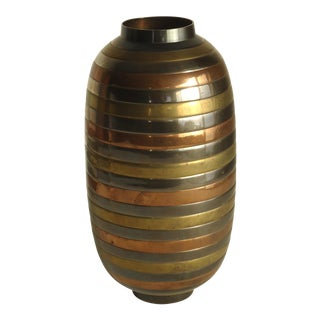 Large Striped Mixed Metal Vase