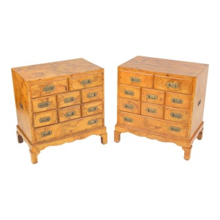Campaign Style Olive Wood Chest of Drawers - a Pair For Sale