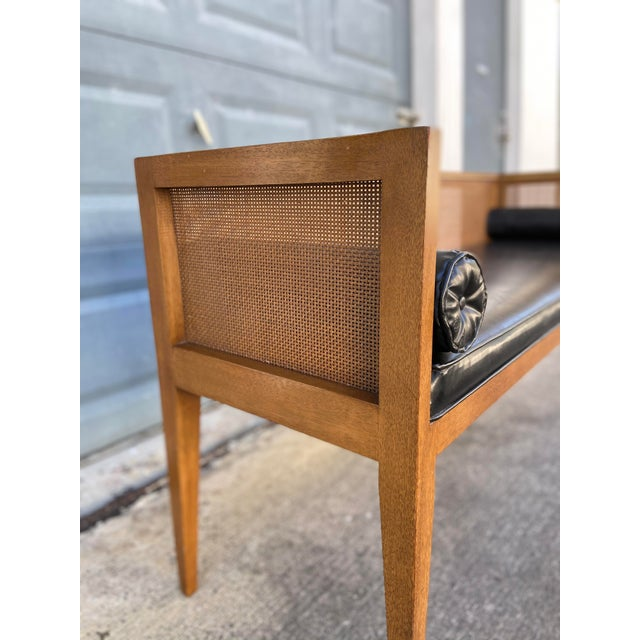 Danish Style Black Leather Bench For Sale - Image 9 of 13