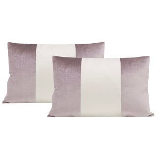 "12""x18"" Smokey Lavender Velvet & Alabaster Silk Panel Lumbar Pillows - a Pair For Sale"