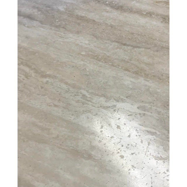 Stone Vintage Postmodern Travertine Marble Round Dining Table For Sale - Image 7 of 12