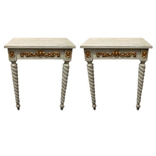 Pair of Louis XV Style Wood Console Tables With Marble Tops, 20th Century For Sale
