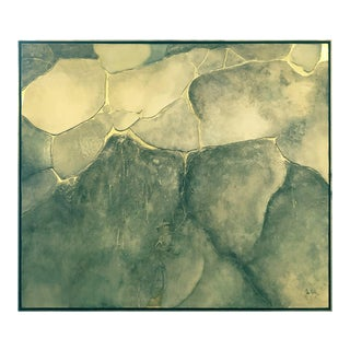 Large Mixed-Media Abstract in Cool Earth Tones and Gold by John Kiraly For Sale