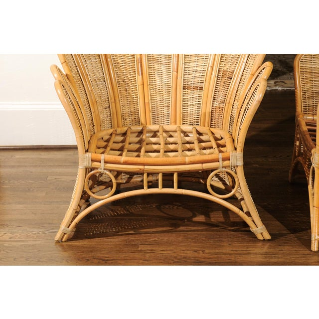 Majestic Restored Pair of Vintage Rattan and Wicker Palm Frond Club Chairs For Sale - Image 10 of 11