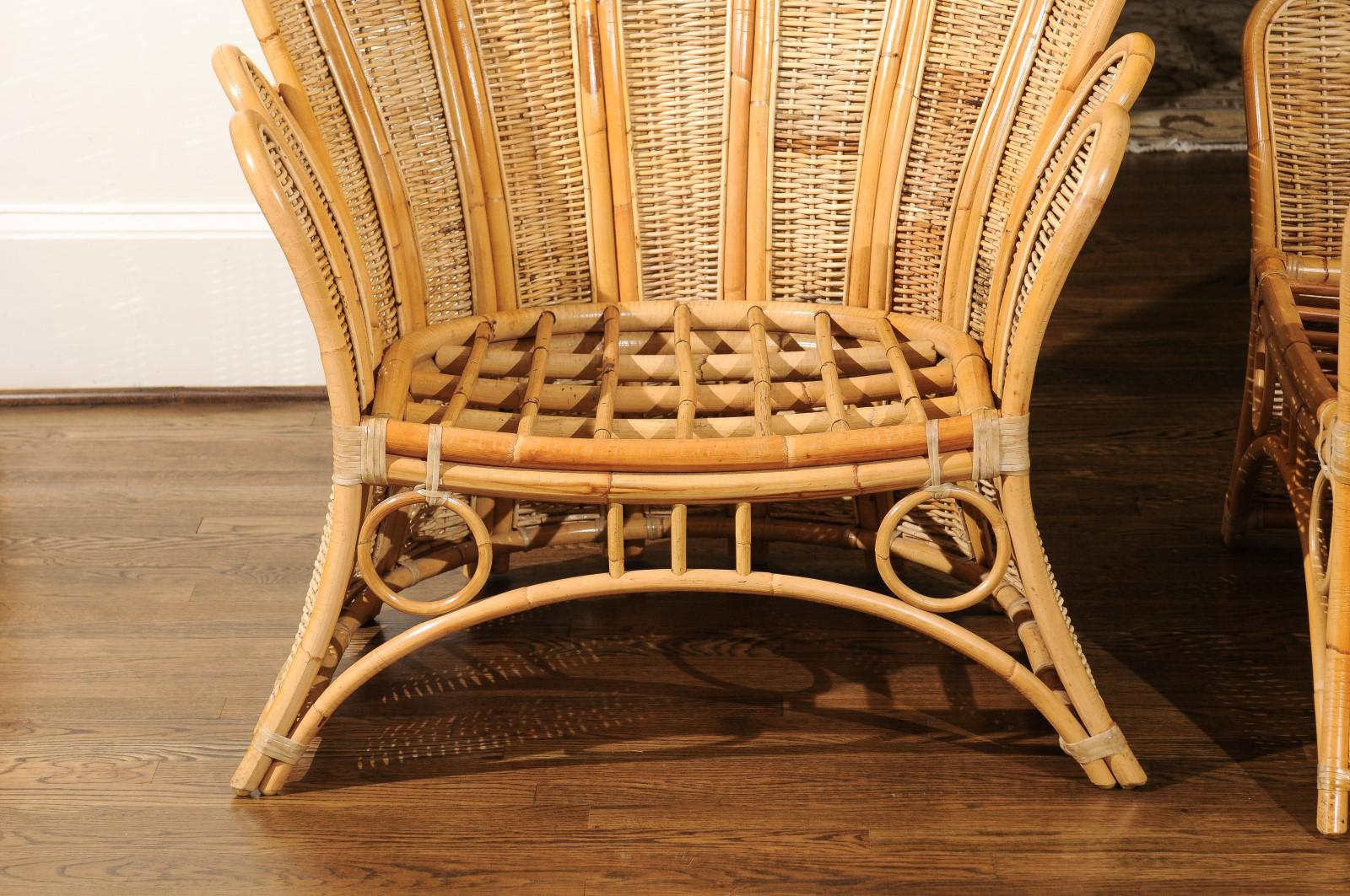 Majestic Restored Pair Of Vintage Rattan And Wicker Palm Frond Club Chairs    Image 10 Of