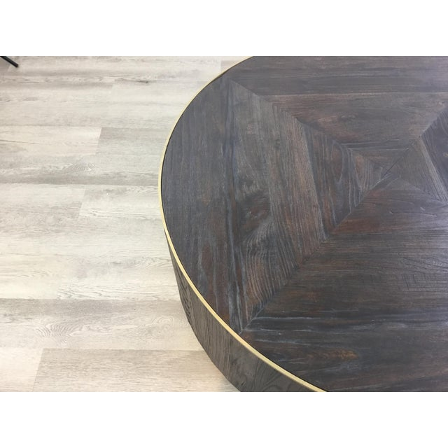Industrial Modern Round Wood Cocktail Table For Sale - Image 4 of 6