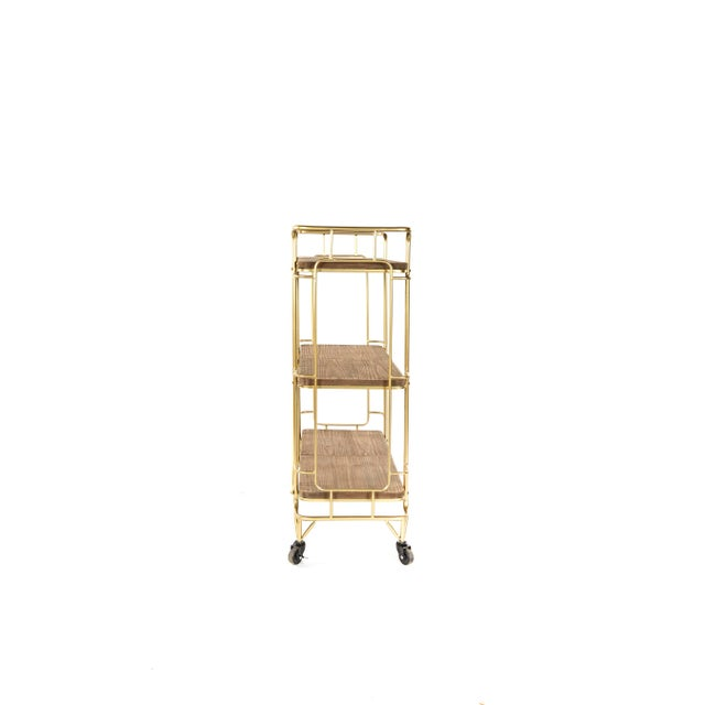 Rustic Lulu Shelving Unit -Bar Cart With Wheels For Sale - Image 3 of 5