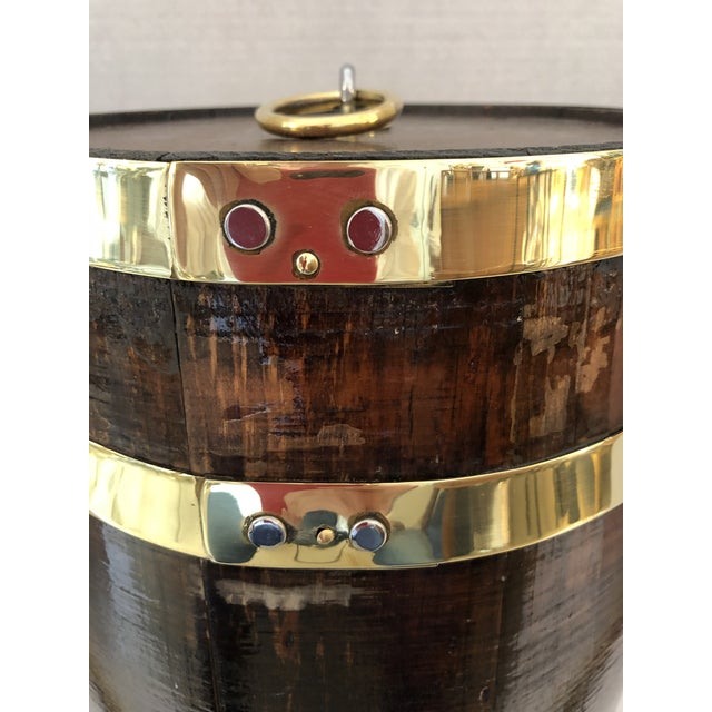 Antique Brass Banded & Wood Lidded Ice Cooler With Initials For Sale - Image 4 of 12