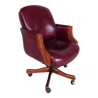 Hickory Leather Executive Style Swivel Desk Chair For Sale
