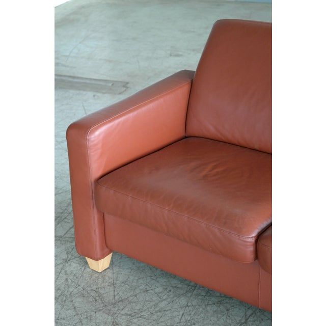 Danish Mid Century Modern Sofa in Brown Leather For Sale In New York - Image 6 of 9